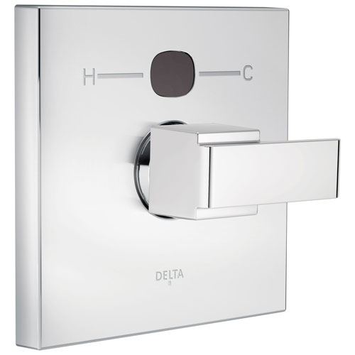 Delta Chrome Finish Ara Collection Angular Modern 14 Series Digital Display Temp2O Shower Valve Control INCLUDES Single Handle and Valve without Stops D1627V