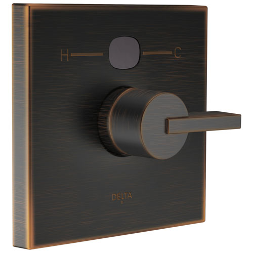 Delta Venetian Bronze Vero Angular Modern 14 Series Digital Display Temp2O Square Shower Valve Control INCLUDES Single Handle and Valve with Stops D1634V