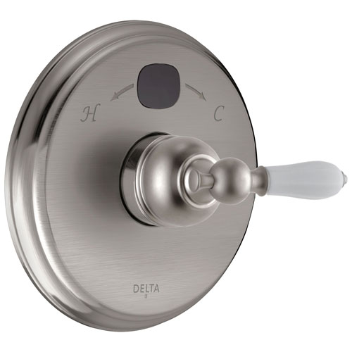 Delta Stainless Steel Finish Victorian 14 Series Digital Display Temp2O Shower Valve Control COMPLETE with Single White Lever Handle and Valve without Stops D1655V