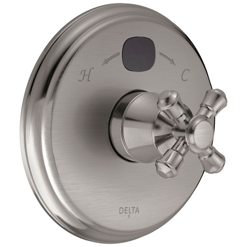 Delta Stainless Steel Finish Cassidy 14 Series Digital Display Temp2O Shower Valve Control COMPLETE with Single Cross Handle and Valve with Stops D1666V
