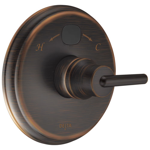 Delta Venetian Bronze Trinsic 14 Series Digital Display Temp2O Shower Valve Control COMPLETE with Single Lever Handle and Rough-in Valve with Stops D1677V