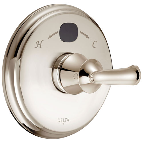 Delta Polished Nickel Cassidy 14 Series Digital Display Temp2O Shower Valve Control COMPLETE with Single French Curve Lever Handle and Valve without Stops D1680V