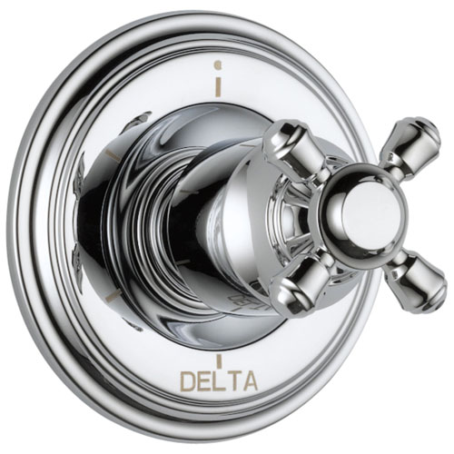 Delta Cassidy Collection Chrome Finish 6-Setting 3-Port Shower Diverter INCLUDES Single Cross Handle and Rough-in Valve D1692V