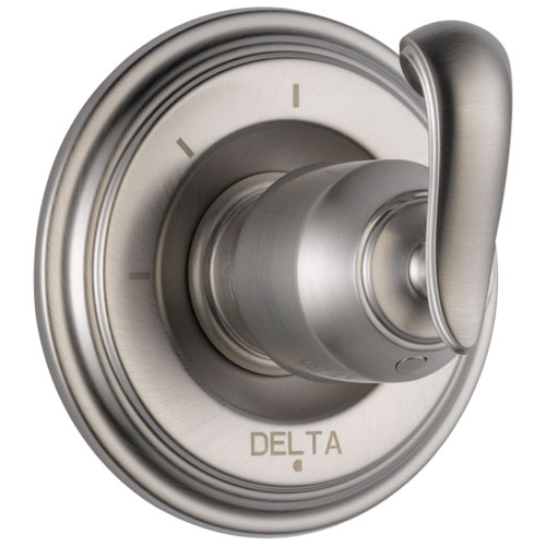Delta Cassidy Collection Stainless Steel Finish 3-Setting 2-Port Shower Diverter INCLUDES Single French Curve Lever Handle and Rough-in Valve D1695V