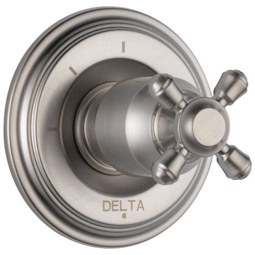 Delta Cassidy Collection Stainless Steel Finish 3-Setting 2-Port Shower Diverter INCLUDES Single Cross Handle and Rough-in Valve D1696V