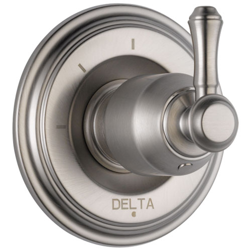 Delta Cassidy Collection Stainless Steel Finish 3-Setting 2-Port Shower Diverter INCLUDES Single Lever Handle and Rough-in Valve D1697V