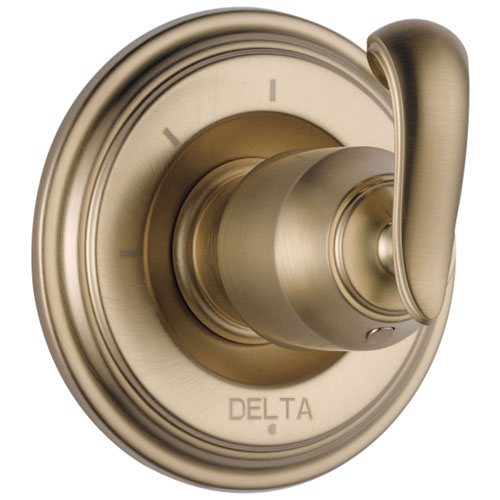 Delta Cassidy Collection Champagne Bronze Finish 3-Setting 2-Port Shower Diverter INCLUDES Single French Curve Lever Handle and Rough-in Valve D1707V