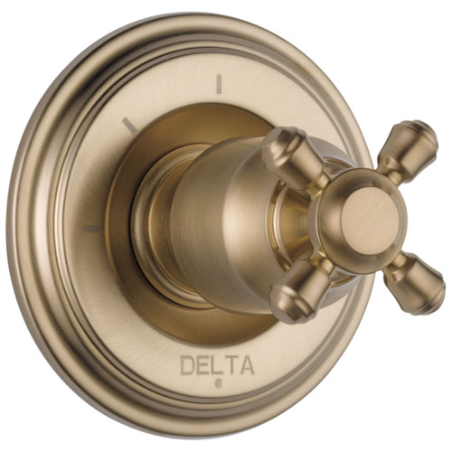 Delta Cassidy Collection Champagne Bronze Finish 3-Setting 2-Port Shower Diverter INCLUDES Single Cross Handle and Rough-in Valve D1708V