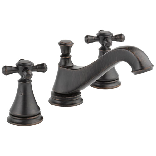 Delta Cassidy Collection Venetian Bronze Traditional Low Spout Widespread Bathroom Sink Faucet INCLUDES Two Cross Handles and Drain D1792V
