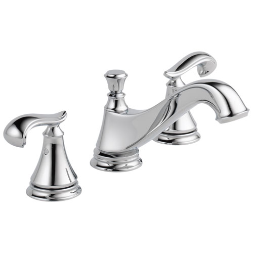 Delta Cassidy Collection Chrome Finish Traditional Low Spout Widespread Bathroom Sink Faucet INCLUDES Two French Curve Lever Handles and Drain D1797V