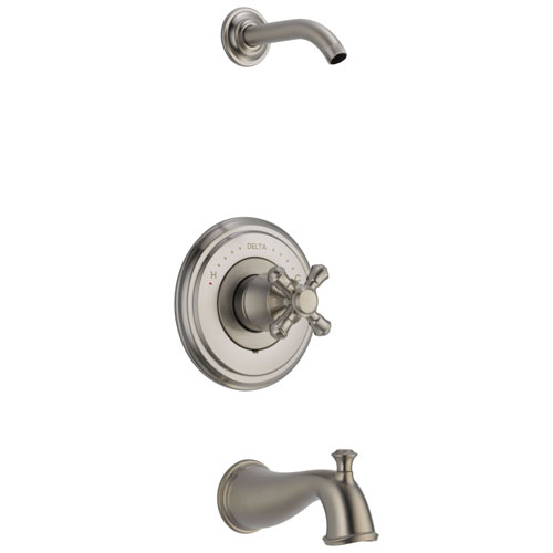 Delta Cassidy Collection Stainless Steel Finish Tub and Shower Combination - Less Showerhead INCLUDES Single Cross Handle and Rough-in Valve with Stops D1817V