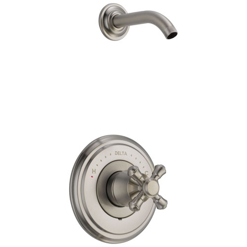 Delta Cassidy Collection Stainless Steel Finish Shower only Faucet - Less Showerhead INCLUDES Single Cross Handle and Rough-in Valve without Stops D1826V