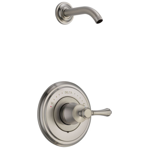 Delta Cassidy Collection Stainless Steel Finish Shower only Faucet - Less Showerhead INCLUDES Single Lever Handle and Rough-in Valve without Stops D1827V