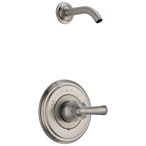 Delta Cassidy Collection Stainless Steel Finish Shower only Faucet - Less Showerhead INCLUDES Single French Scroll Lever Handle and Valve with Stops D1831V