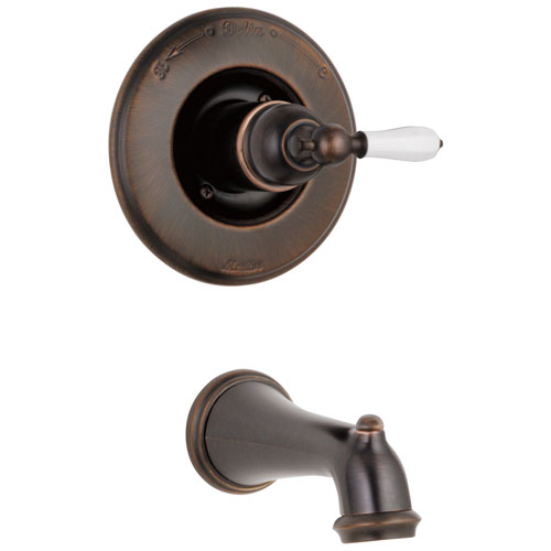 Delta Victorian Venetian Bronze Finish Monitor 14 Series Wall Mount Tub only Faucet INCLUDES Single Porcelain Lever Handle and Rough-in Valve with Stops D1857V