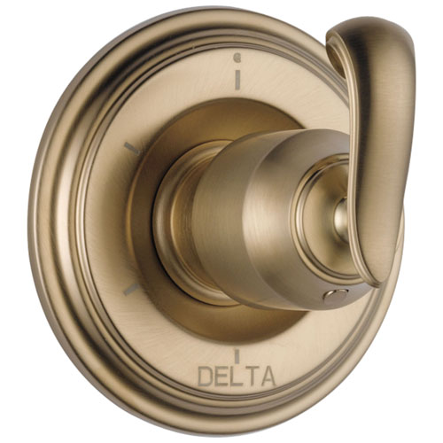 Delta Cassidy Collection Champagne Bronze Finish 6-Setting 3-Port Shower Diverter INCLUDES French Scroll Lever Handle and Rough-in Valve D1894V
