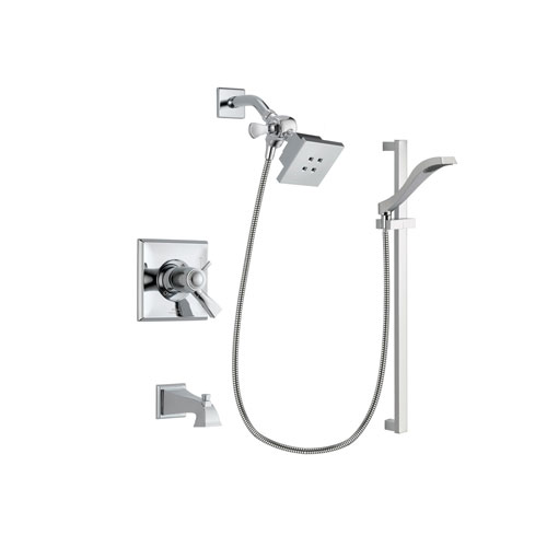 Delta Dryden Chrome Finish Thermostatic Tub and Shower Faucet System Package with Square Showerhead and Wall Mount Slide Bar with Handheld Shower Spray Includes Rough-in Valve and Tub Spout DSP0146V