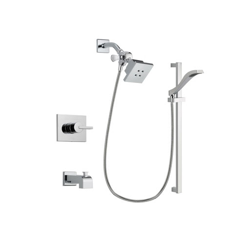 Delta Vero Chrome Finish Tub and Shower Faucet System Package with Square Showerhead and Wall Mount Slide Bar with Handheld Shower Spray Includes Rough-in Valve and Tub Spout DSP0154V