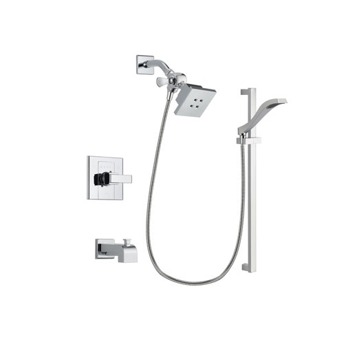 Delta Arzo Chrome Finish Tub and Shower Faucet System Package with Square Showerhead and Wall Mount Slide Bar with Handheld Shower Spray Includes Rough-in Valve and Tub Spout DSP0155V