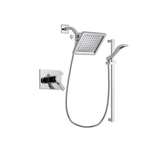 Delta Vero Chrome Finish Thermostatic Shower Faucet System Package with 6.5-inch Square Rain Showerhead and Wall Mount Slide Bar with Handheld Shower Spray Includes Rough-in Valve DSP0164V