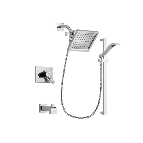 Delta Vero Chrome Finish Dual Control Tub and Shower Faucet System Package with 6.5-inch Square Rain Showerhead and Wall Mount Slide Bar with Handheld Shower Spray Includes Rough-in Valve and Tub Spout DSP0175V