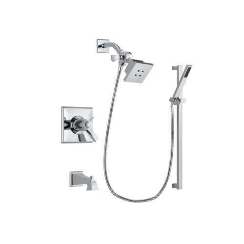 Delta Dryden Chrome Finish Thermostatic Tub and Shower Faucet System Package with Square Showerhead and Modern Square Wall Mount Slide Bar with Handheld Shower Spray Includes Rough-in Valve and Tub Spout DSP0194V