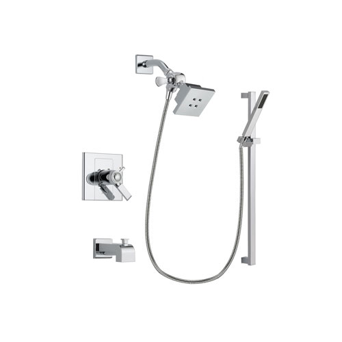 Delta Arzo Chrome Finish Thermostatic Tub and Shower Faucet System Package with Square Showerhead and Modern Square Wall Mount Slide Bar with Handheld Shower Spray Includes Rough-in Valve and Tub Spout DSP0198V