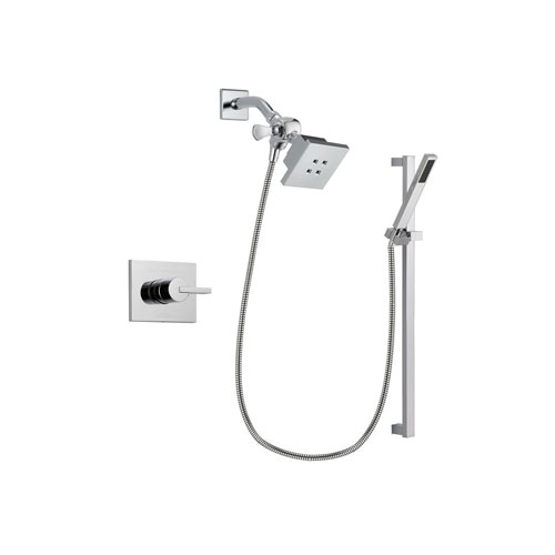 Delta Vero Chrome Finish Shower Faucet System Package with Square Showerhead and Modern Square Wall Mount Slide Bar with Handheld Shower Spray Includes Rough-in Valve DSP0201V