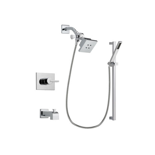 Delta Vero Chrome Finish Tub and Shower Faucet System Package with Square Showerhead and Modern Square Wall Mount Slide Bar with Handheld Shower Spray Includes Rough-in Valve and Tub Spout DSP0202V