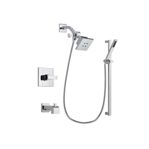 Delta Arzo Chrome Finish Tub and Shower Faucet System Package with Square Showerhead and Modern Square Wall Mount Slide Bar with Handheld Shower Spray Includes Rough-in Valve and Tub Spout DSP0203V