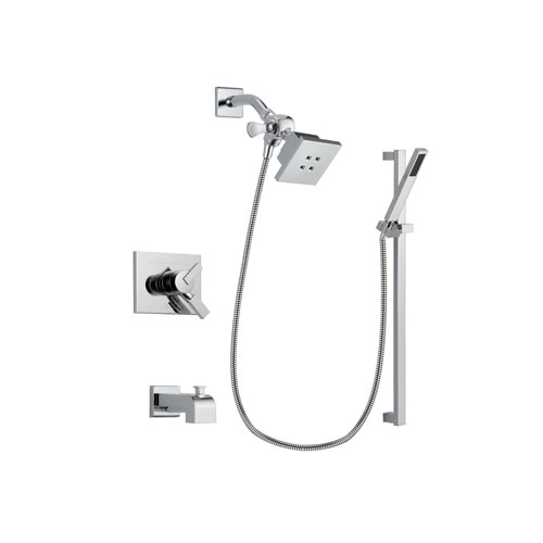 Delta Vero Chrome Finish Dual Control Tub and Shower Faucet System Package with Square Showerhead and Modern Square Wall Mount Slide Bar with Handheld Shower Spray Includes Rough-in Valve and Tub Spout DSP0207V