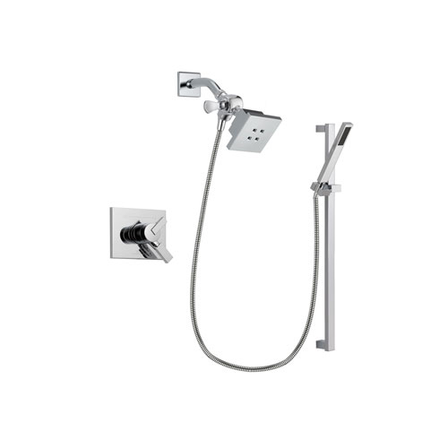 Delta Vero Chrome Finish Dual Control Shower Faucet System Package with Square Showerhead and Modern Square Wall Mount Slide Bar with Handheld Shower Spray Includes Rough-in Valve DSP0208V