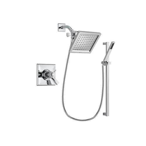 Delta Dryden Chrome Finish Thermostatic Shower Faucet System Package with 6.5-inch Square Rain Showerhead and Modern Square Wall Mount Slide Bar with Handheld Shower Spray Includes Rough-in Valve DSP0209V