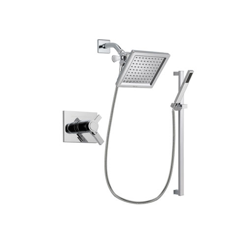 Delta Vero Chrome Finish Thermostatic Shower Faucet System Package with 6.5-inch Square Rain Showerhead and Modern Square Wall Mount Slide Bar with Handheld Shower Spray Includes Rough-in Valve DSP0212V