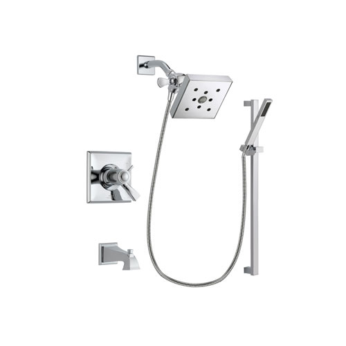 Delta Dryden Chrome Finish Thermostatic Tub and Shower Faucet System Package with Square Shower Head and Modern Square Wall Mount Slide Bar with Handheld Shower Spray Includes Rough-in Valve and Tub Spout DSP0226V