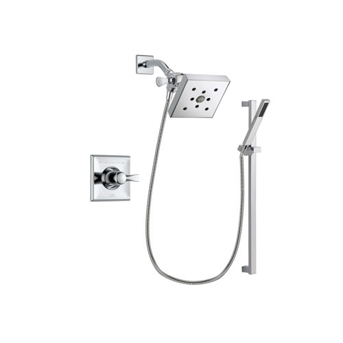 Delta Dryden Chrome Finish Shower Faucet System Package with Square Shower Head and Modern Square Wall Mount Slide Bar with Handheld Shower Spray Includes Rough-in Valve DSP0232V
