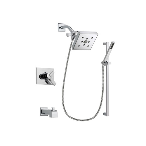 Delta Vero Chrome Finish Dual Control Tub and Shower Faucet System Package with Square Shower Head and Modern Square Wall Mount Slide Bar with Handheld Shower Spray Includes Rough-in Valve and Tub Spout DSP0239V