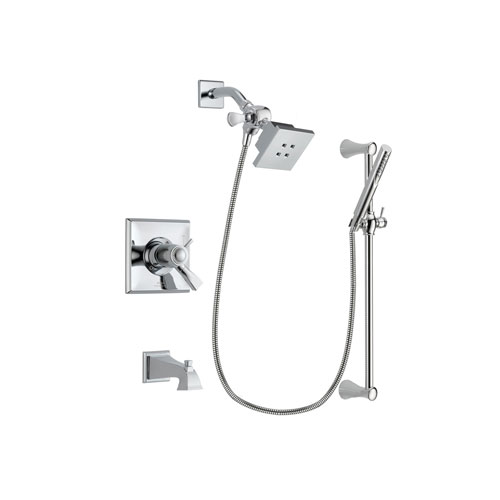 Delta Dryden Chrome Finish Thermostatic Tub and Shower Faucet System Package with Square Showerhead and Modern Wall Mount Slide Bar with Handheld Shower Spray Includes Rough-in Valve and Tub Spout DSP0242V