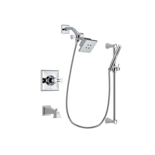 Delta Dryden Chrome Finish Tub and Shower Faucet System Package with Square Showerhead and Modern Wall Mount Slide Bar with Handheld Shower Spray Includes Rough-in Valve and Tub Spout DSP0247V