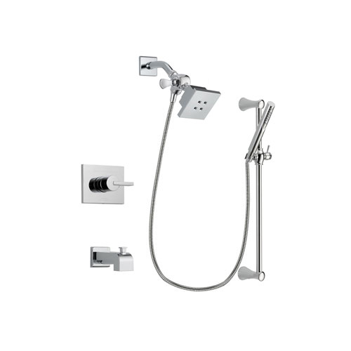 Delta Vero Chrome Finish Tub and Shower Faucet System Package with Square Showerhead and Modern Wall Mount Slide Bar with Handheld Shower Spray Includes Rough-in Valve and Tub Spout DSP0250V