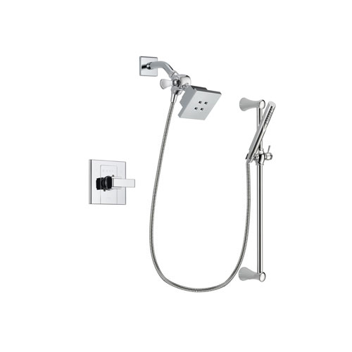 Delta Arzo Chrome Finish Shower Faucet System Package with Square Showerhead and Modern Wall Mount Slide Bar with Handheld Shower Spray Includes Rough-in Valve DSP0252V