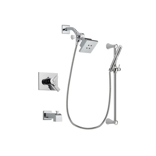 Delta Vero Chrome Finish Dual Control Tub and Shower Faucet System Package with Square Showerhead and Modern Wall Mount Slide Bar with Handheld Shower Spray Includes Rough-in Valve and Tub Spout DSP0255V