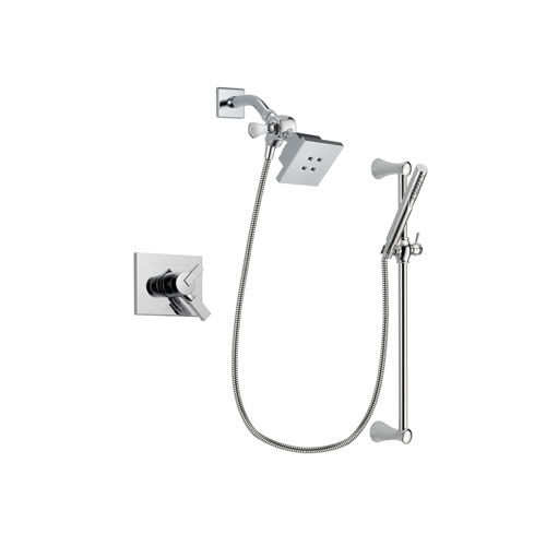 Delta Vero Chrome Finish Dual Control Shower Faucet System Package with Square Showerhead and Modern Wall Mount Slide Bar with Handheld Shower Spray Includes Rough-in Valve DSP0256V