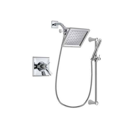 Delta Dryden Chrome Finish Thermostatic Shower Faucet System Package with 6.5-inch Square Rain Showerhead and Modern Wall Mount Slide Bar with Handheld Shower Spray Includes Rough-in Valve DSP0257V