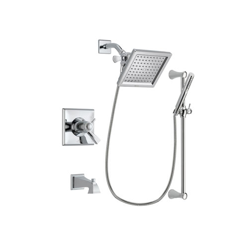 Delta Dryden Chrome Finish Thermostatic Tub and Shower Faucet System Package with 6.5-inch Square Rain Showerhead and Modern Wall Mount Slide Bar with Handheld Shower Spray Includes Rough-in Valve and Tub Spout DSP0258V