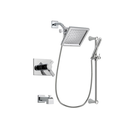 Delta Vero Chrome Finish Thermostatic Tub and Shower Faucet System Package with 6.5-inch Square Rain Showerhead and Modern Wall Mount Slide Bar with Handheld Shower Spray Includes Rough-in Valve and Tub Spout DSP0259V