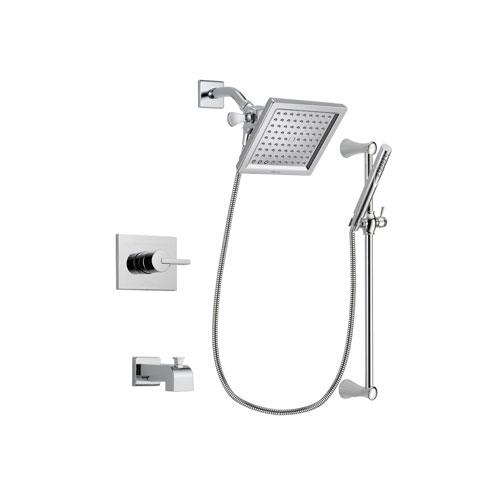 Delta Vero Chrome Finish Tub and Shower Faucet System Package with 6.5-inch Square Rain Showerhead and Modern Wall Mount Slide Bar with Handheld Shower Spray Includes Rough-in Valve and Tub Spout DSP0266V