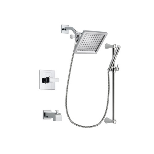 Delta Arzo Chrome Finish Tub and Shower Faucet System Package with 6.5-inch Square Rain Showerhead and Modern Wall Mount Slide Bar with Handheld Shower Spray Includes Rough-in Valve and Tub Spout DSP0267V