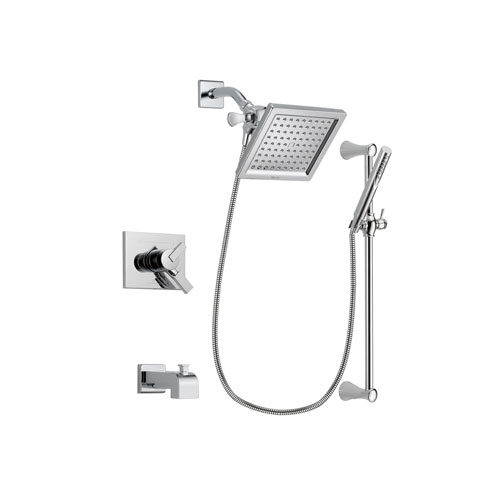 Delta Vero Chrome Finish Dual Control Tub and Shower Faucet System Package with 6.5-inch Square Rain Showerhead and Modern Wall Mount Slide Bar with Handheld Shower Spray Includes Rough-in Valve and Tub Spout DSP0271V