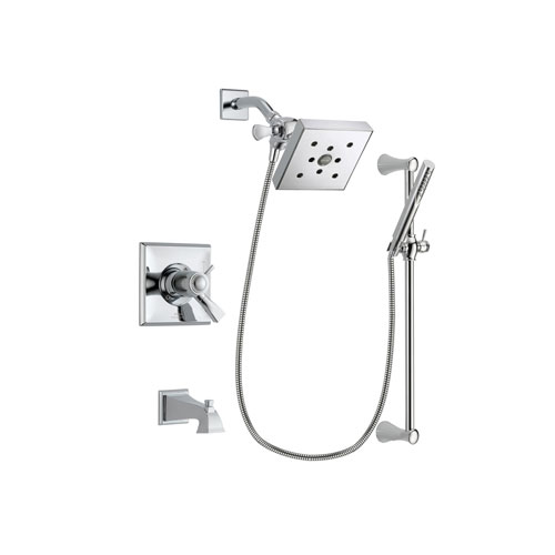 Delta Dryden Chrome Finish Thermostatic Tub and Shower Faucet System Package with Square Shower Head and Modern Wall Mount Slide Bar with Handheld Shower Spray Includes Rough-in Valve and Tub Spout DSP0274V